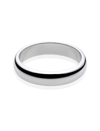 Platinum D Shape Wedding Band 4mm