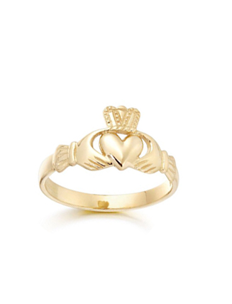 Ladies Gold Claddagh Ring 9ct
