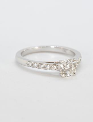 8K White Gold Diamond Engagement Ring .65 carat