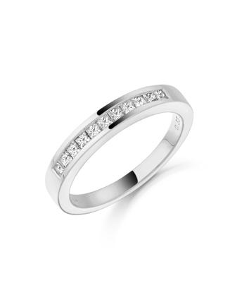 18ct White Gold Diamond Wedding Ring 011