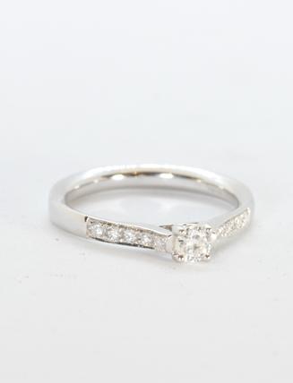 14K White Gold Diamond Engagement Ring .20 carat
