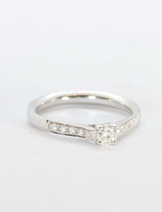 14K White Gold Diamond Engagement Ring .20 carat