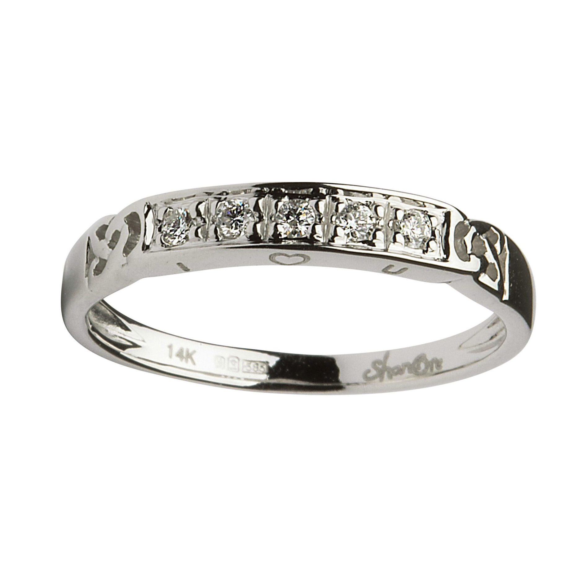 14ct White Gold Celtic Diamond Wedding Ring - Conway\'s Jewellers