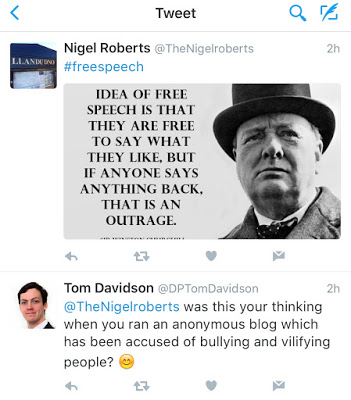 Nigel Roberts being challenged about his troll blog 'Thoughts of Oscar'.