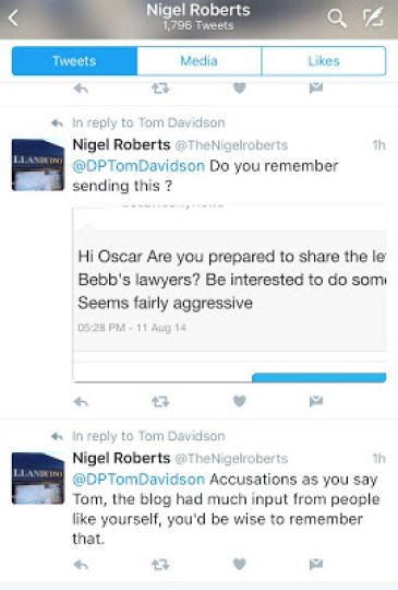 Nigel Roberts threatens local journalists.