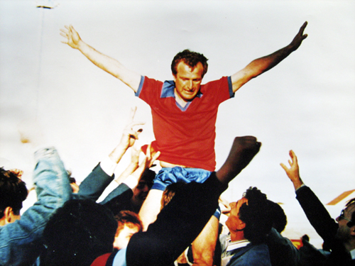 Dule Rusmir being carried off the field by the Beograd supporters after the victorious 1986 West End Cup Soccer match