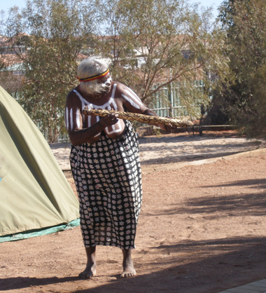 Welcome to Country by the women Elders at Umoona Aged Care for Her Excellency Mrs Bryce