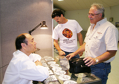 Opal Buyer Tony Wong with Paul Sedeawie and Holdfast Opals