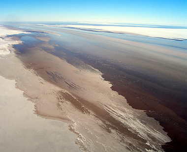 Waters coming into the mouth of Lake Eyre