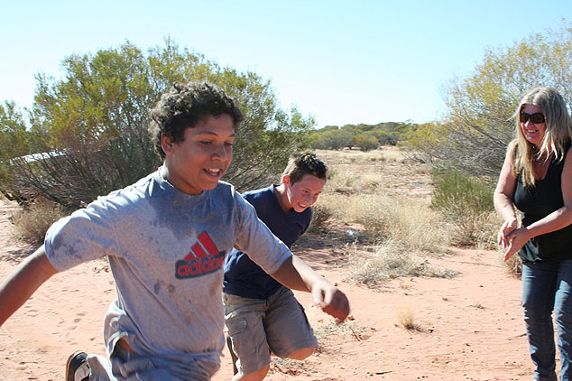 Mintabie students Lachlan and Kale doing the Fun Run dash