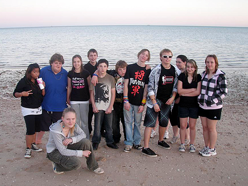 The combined Coober Pedy Area School volleyballs teams taking it easy on the Whyalla foreshore