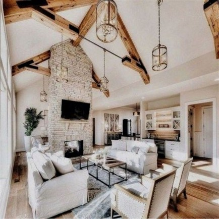 Awesome French Farmhouse Living Room Design Ideas 33