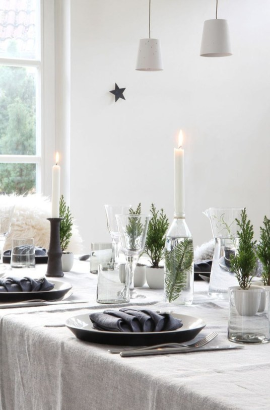 Modern Rustic Christmas Table Settings Ideas 46
