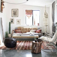 Romantic Rustic Bohemian Living Room Design Ideas 22