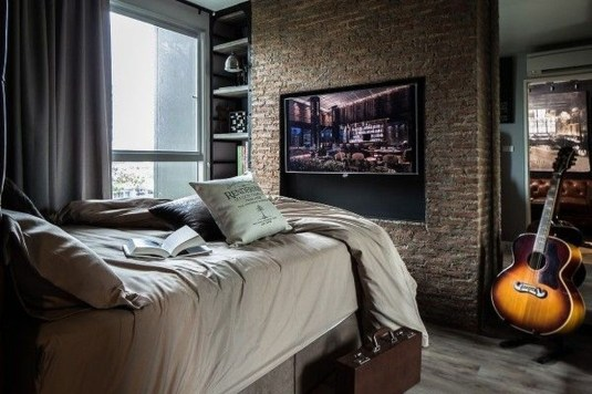 Wonderful Ezposed Brick Walls Bedroom Design Ideas 30
