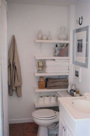 Stunning Bathroom Storage Shelves Organization Ideas 40
