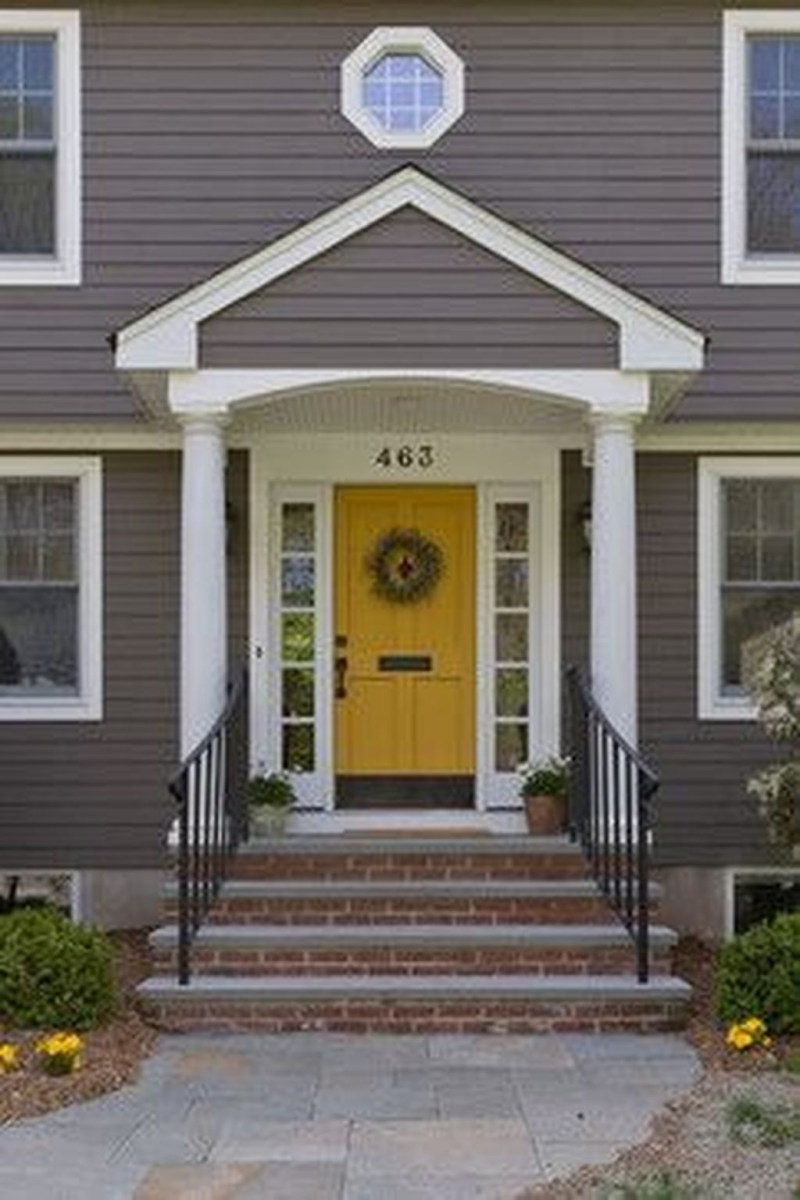 Flawless Exterior House Paint Ideas With Yellow Colors 16