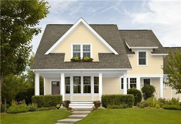 Flawless Exterior House Paint Ideas With Yellow Colors 30