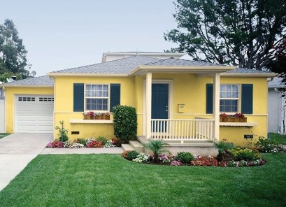 Flawless Exterior House Paint Ideas With Yellow Colors 41