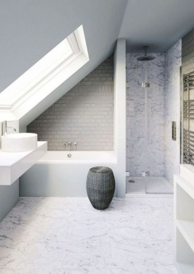 Modern Attic Bathroom Design Ideas 34
