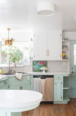 Unique Painted Kitchen Cabinets Design Ideas With Two Tone 18