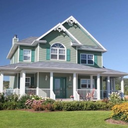 Astonishing Exterior Paint Colors Ideas For House With Brown Roof 31