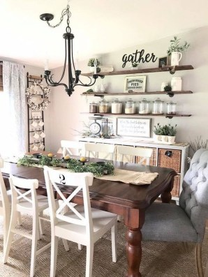 Relaxing Farmhouse Dining Room Design Ideas To Try 53