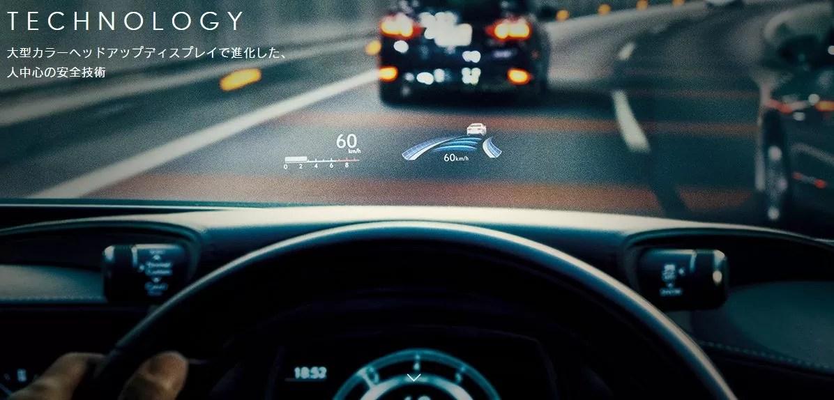 新型レクサスLSヘッドアップディスプレイ画像