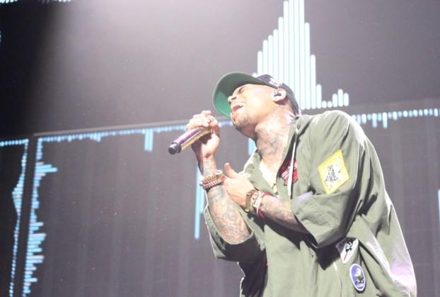 Chris Brown performing 'Take You Down' on 3/16. (Photo by Rupal Mehta)