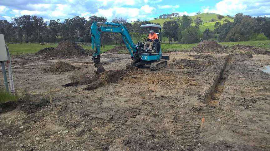 Rob digging the slab footings