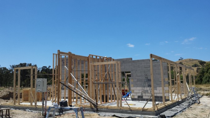 South facing external wall frames ready for strawbale insertion