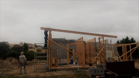 The first joist goes up