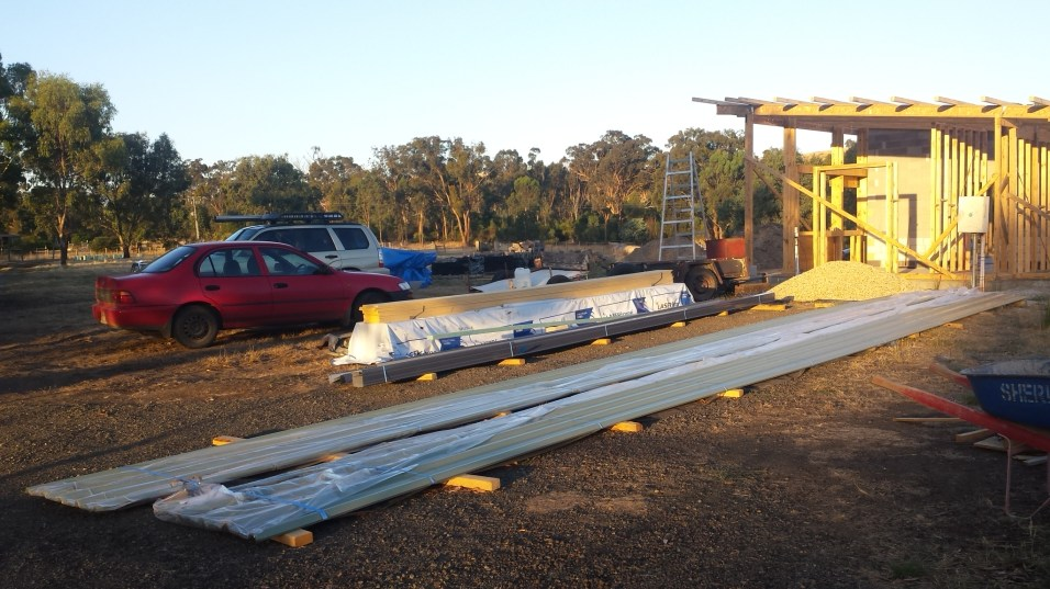 Roof sheets and gutter ready to be put up!