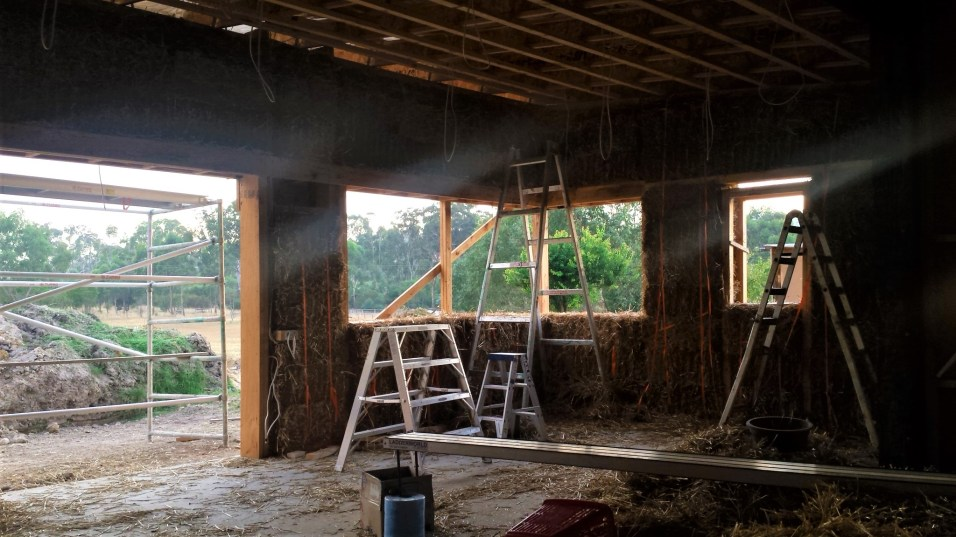 View of the kitchen with all the bales in