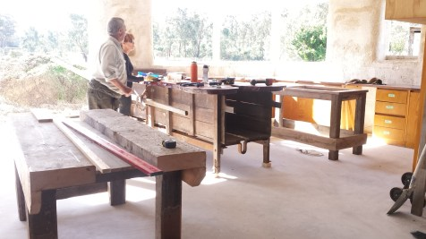 The Breakfast bar is an old wool press about 100 years old, that needed some remodelling to suit our needs