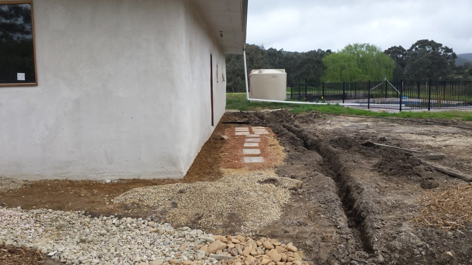 Wonky path to the back door, trench ready for ag-pipe