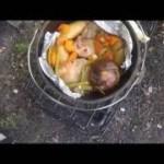 山田大橋キャンプ場で野外料理