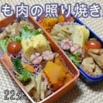 【お弁当】鶏もも肉の照り焼き かぼちゃの煮物 れんこんのきんぴら ナムル 卵焼き ウインナー【Obento】