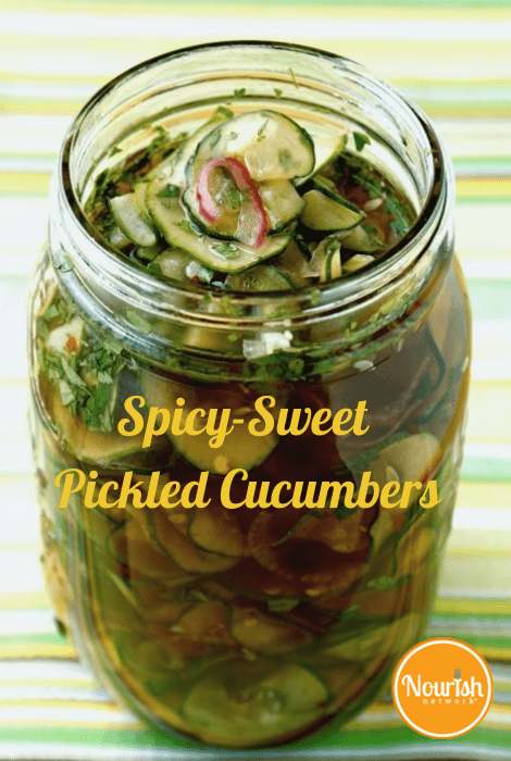 Spicy Sweet Pickled Cucumbers Nourish Evolution