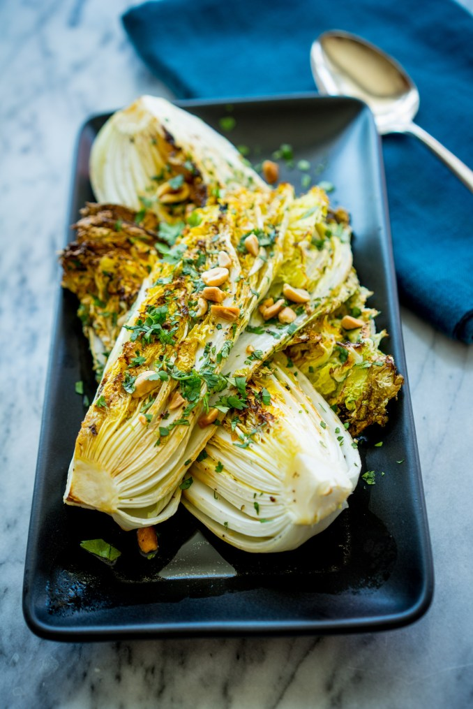 Roasted Napa Cabbage with Tamari and Peanuts - NOURISH