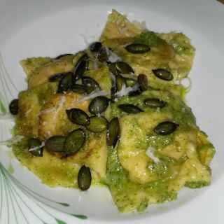 Pumpkin and Sweet Potato Ravioli with Green Pesto and Pumpkin Seed Crunch