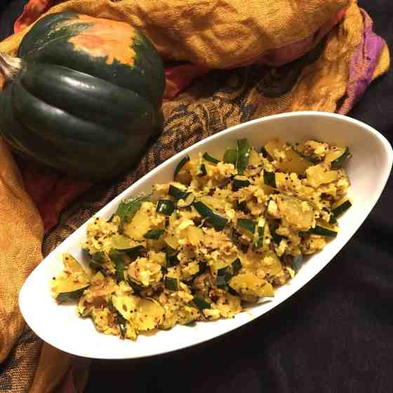 Acorn Squash Stir Fry Indian Style
