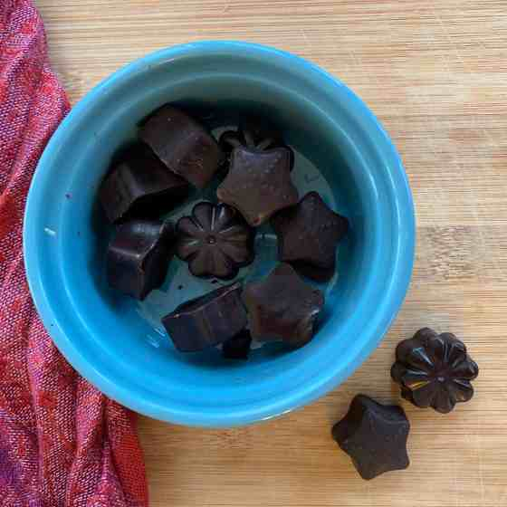 Homemade Chocolate Candy (Dairy free, refined sugar free)