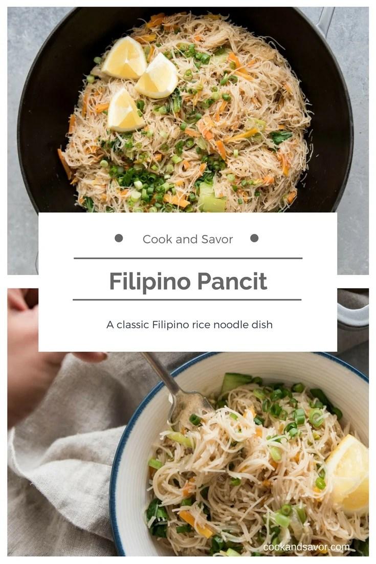 Filipino Pancit - A classic Filipino rice dish | cookandsavor.com
