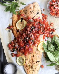 Whole30 Bruschetta Salmon - Finished Dish