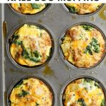 "Close up of the mini egg muffins cooked inside a muffin tin with the words ""Whole30, Paleo Chorizo, Potato and Kale Frittata"" for Pinterest"