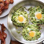 pesto and spiralized zucchini egg nests
