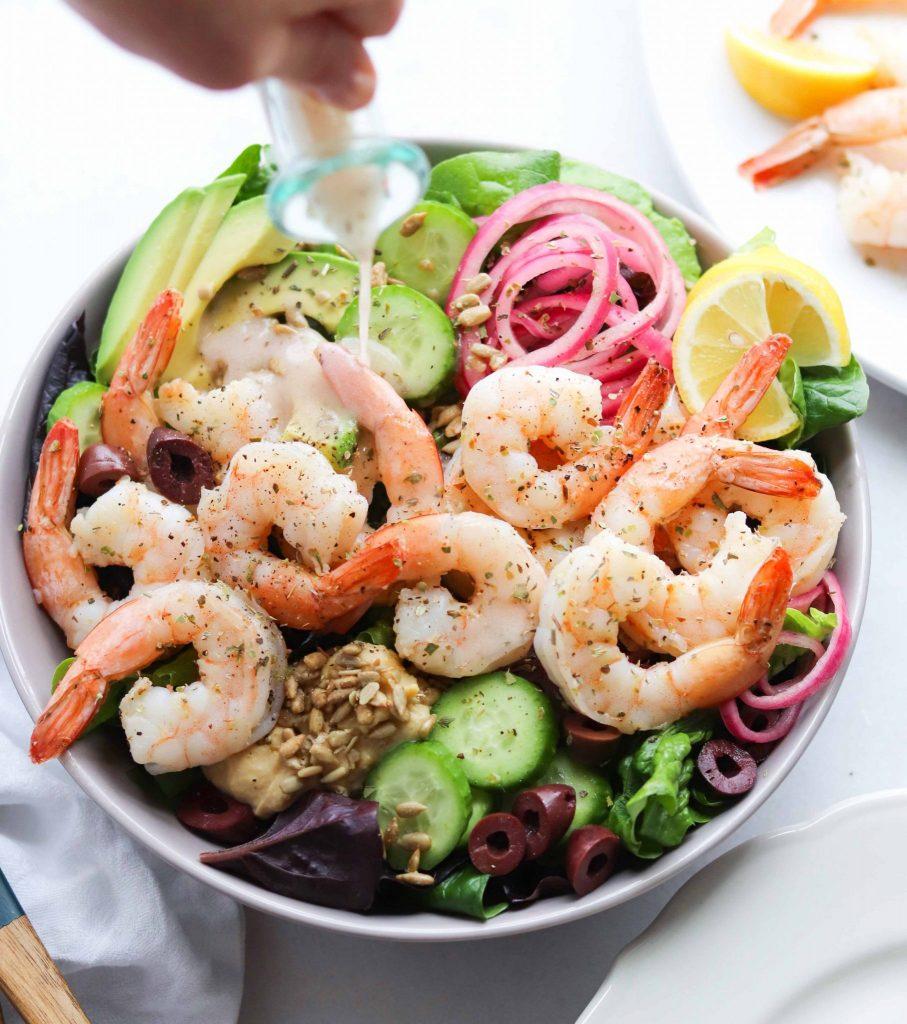 Whole30 Greek Salad with Shrimp