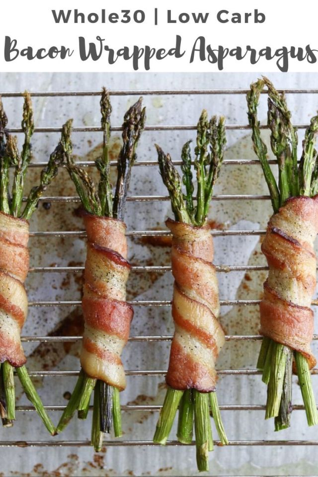 """Whole30 Finished dish with the text """"Bacon Wrapped Asparagus"""" for Pinterest"""