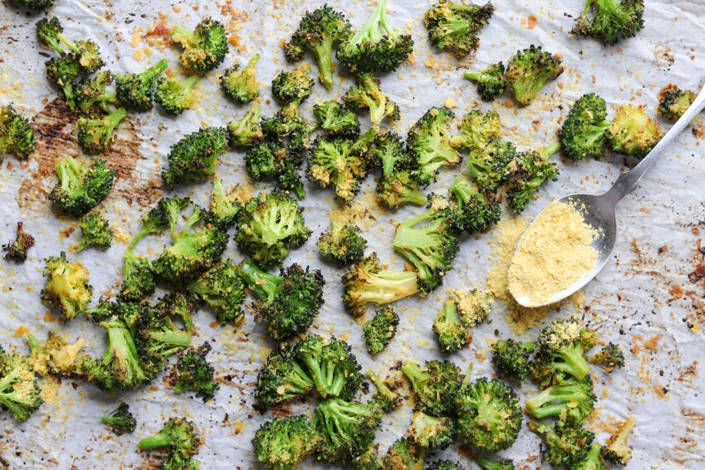 Whole30 Roasted Broccoli with nutritional yeast and ghee